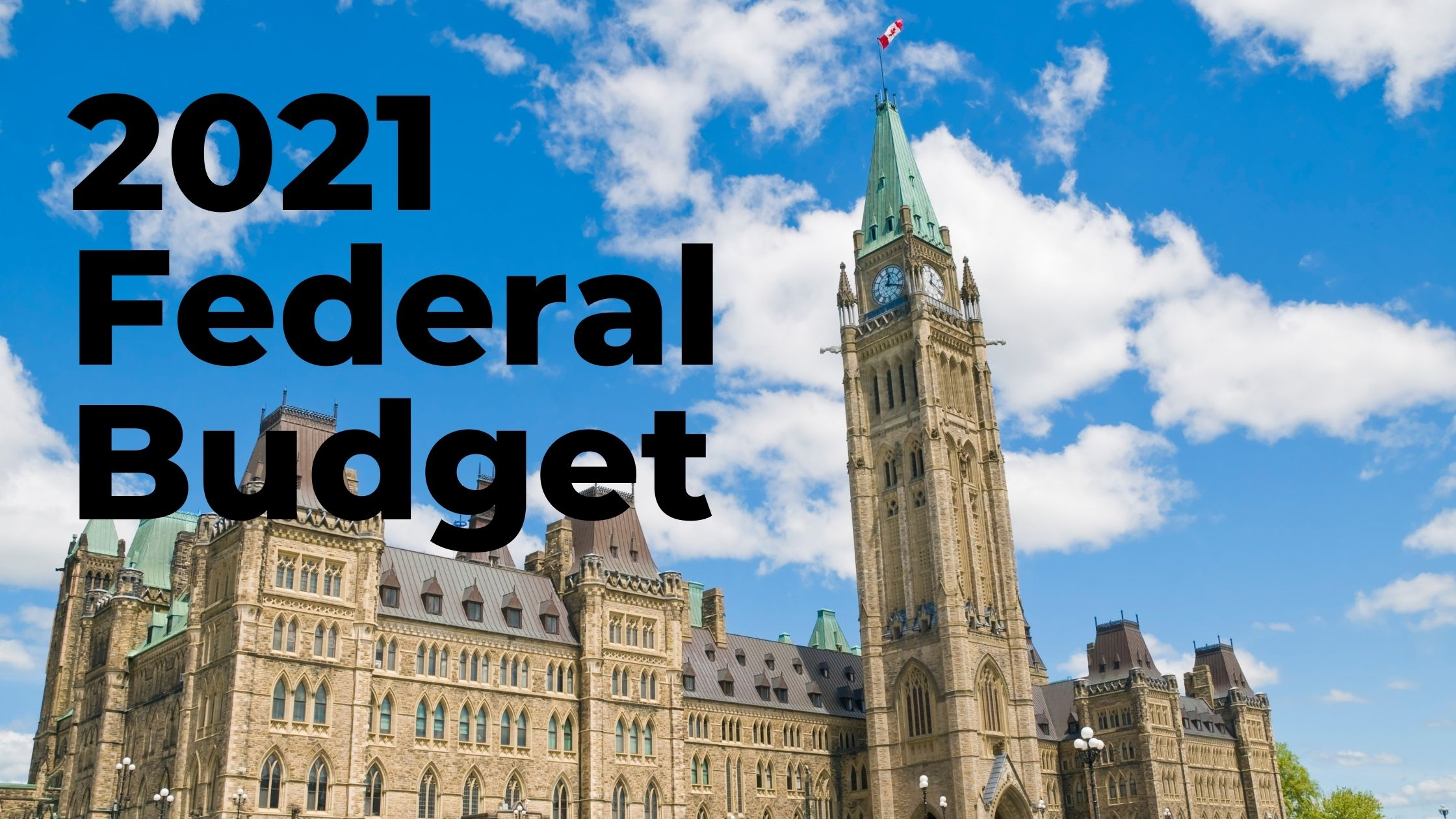 "The words ""2021 Federal Budget"" over an image of parliament hill."
