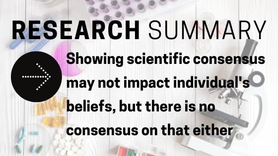Research Summary: Showing scientific consensus may not impact individual's beliefs, but there is no consensus on that either
